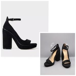 Zara TRF Black Ankle Strap Block High heel Sandals